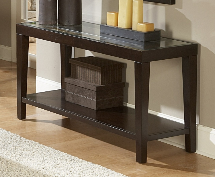 Vincent Sofa Table with Glass Top - Homelegance