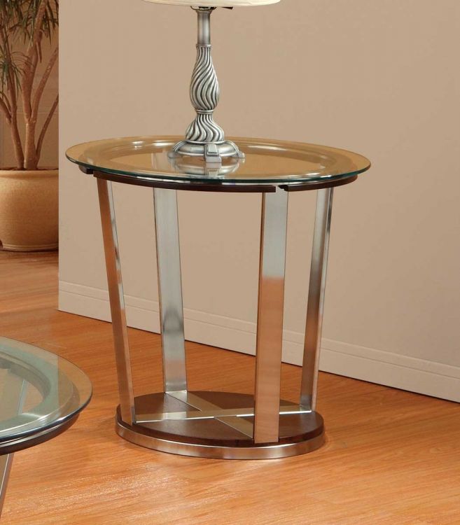 Dunham End Table - Medium Brown Wood and Bronzed over Metal