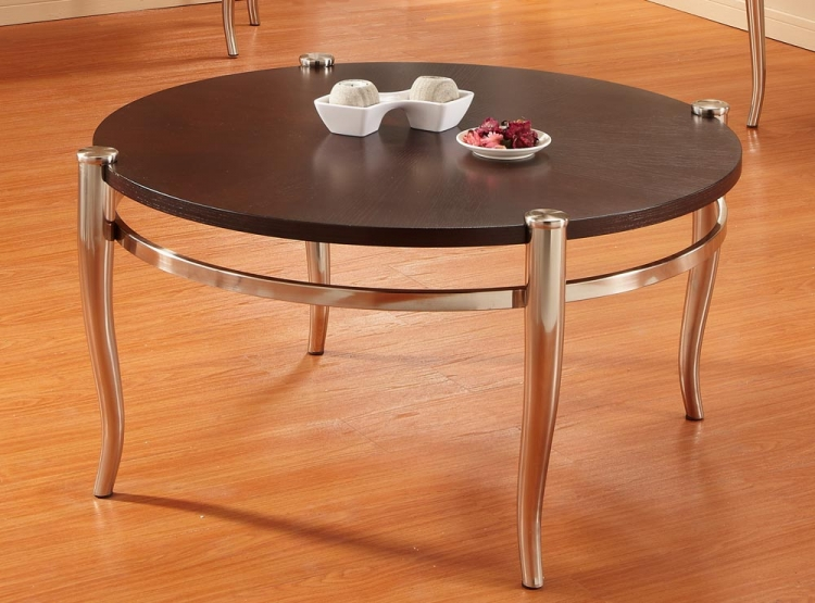Coffey Round Cocktail Table - Brushed Nickel
