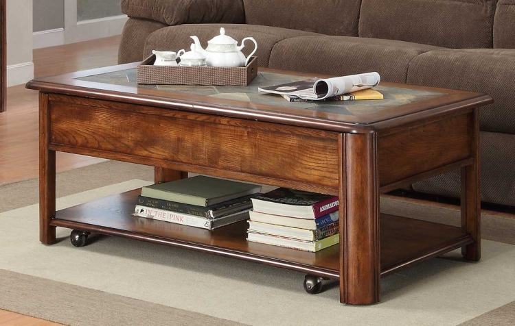 McMillen Lift Top Cocktail Table with Caster - Burnish Oak - Homelegance