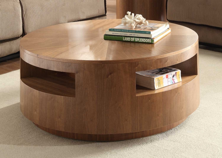 Aquinnan Round Coffee Table with Casters - Natural Walnut