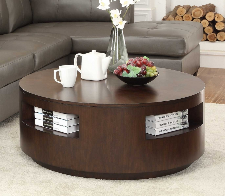 Aquinnah Round Cocktail Table with Casters - Dark Cherry