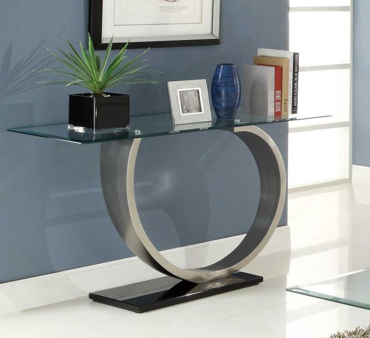 Silvera Sofa Table - Brushed Chrome
