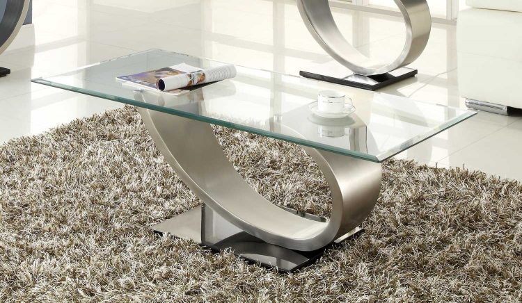 Silvera Cocktail Table - Brushed Chrome� - Homelegance