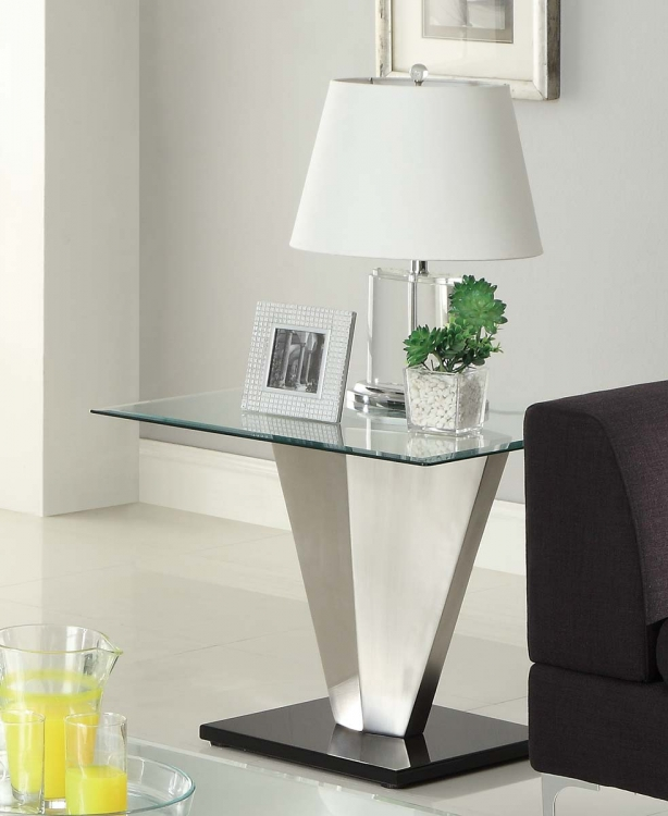 Silverstone End Table - Brushed Chrome� - Homelegance