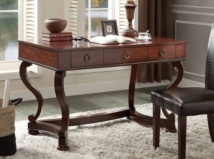 Maule Writing Desk with 3 Drawers - Cherry