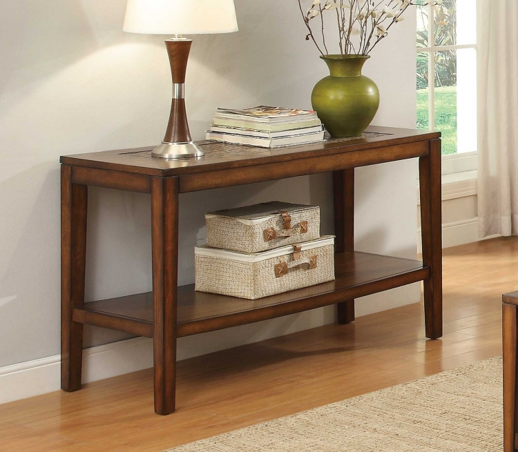 Antoni Sofa Table with Shelf - Warm Brown Cherry
