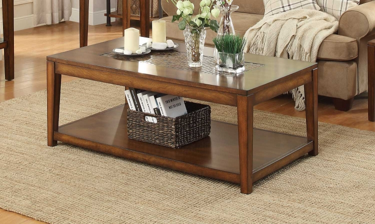 Antoni Cocktail Table with Shelf on Casters - Warm Brown Cherry