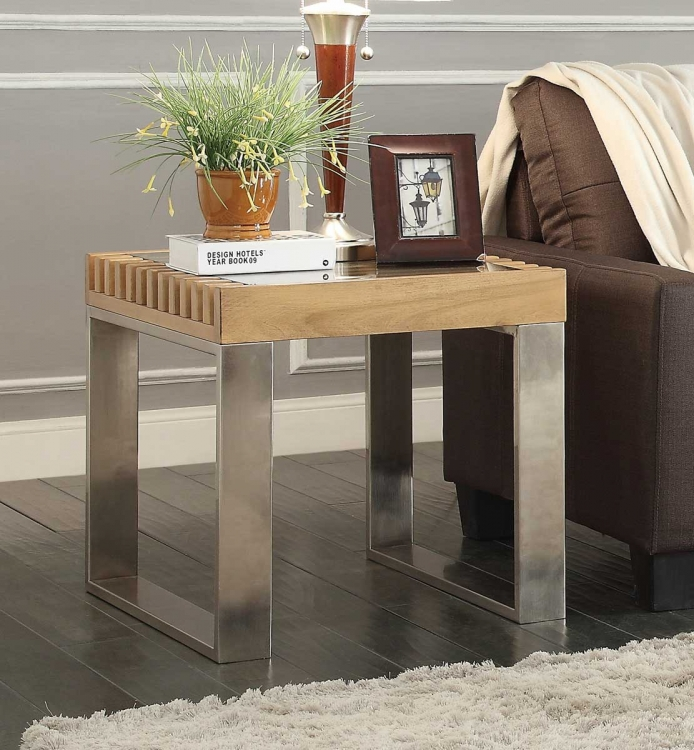 Raeburn End Table with Glass Insert - Natural