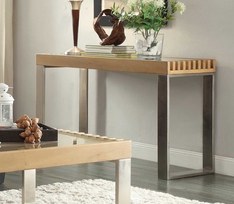 Raeburn Sofa Table with Glass Insert - Natural