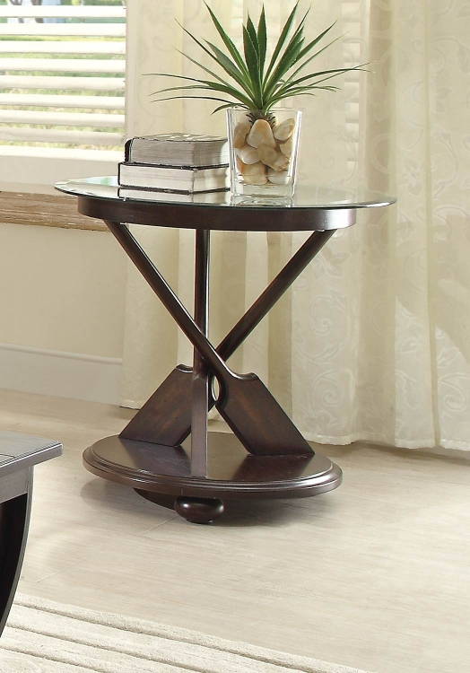 Hatchett Lake Round End Table with Glass Top - Brown