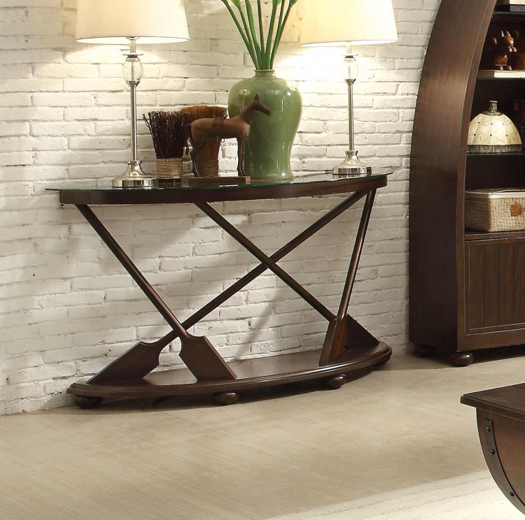 Hatchett Lake Sofa Table with Glass Top - Brown