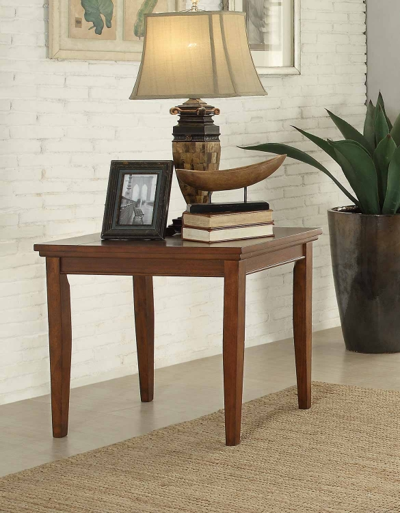 Barnett End Table - Brown with Slate Insert