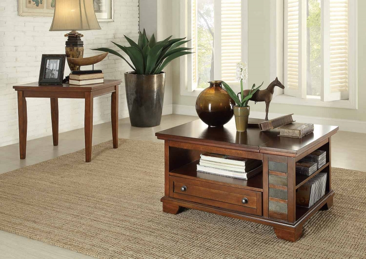 Barnett Coffee Table Set - Brown with Slate Insert