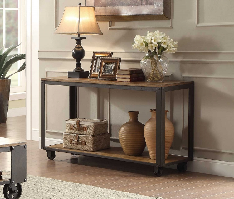 Leandra Sofa Table - Wood Table Top with Metal Framing