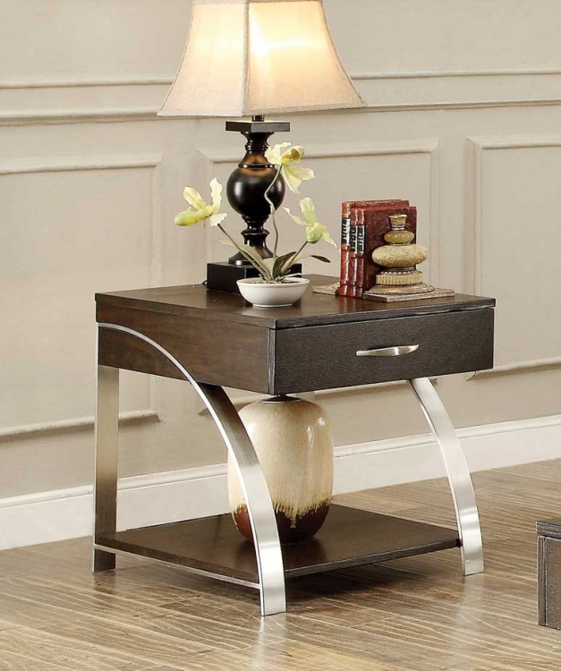 Tioga End Table with Functional Drawer - Espresso