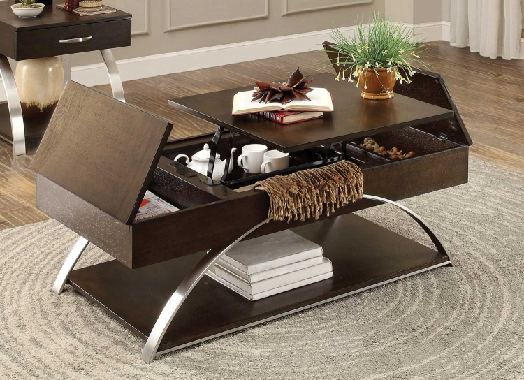 Tioga Cocktail Table with Lift Top and Storage - Espresso