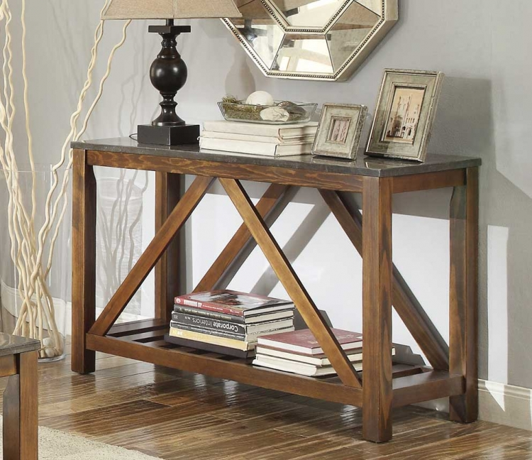 Ashby Sofa Table with Bluestone Marble Tile Top - Dark Oak