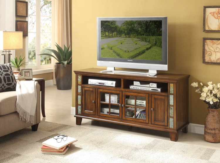 Chehalis 60-inch TV Stand with Slate Decor - Brown Cherry
