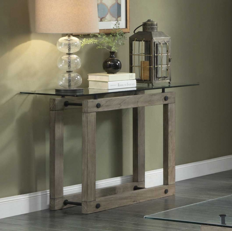 Mesilla Sofa Table with Glass Top - Natural wood tone