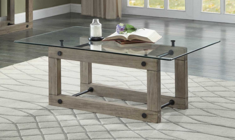 Mesilla Cocktail Table with Glass Top - Natural wood tone