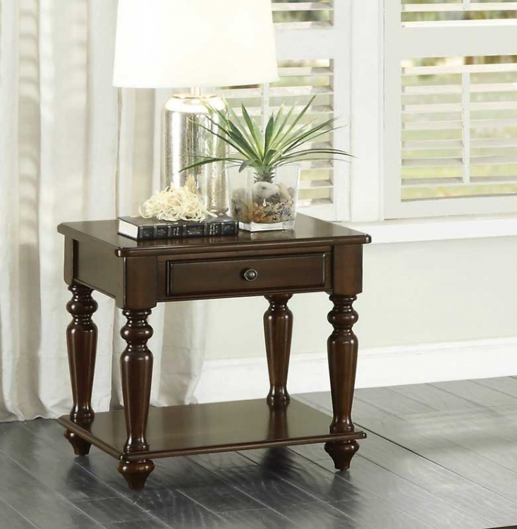 Lovington End Table with Functional Drawer - Espresso