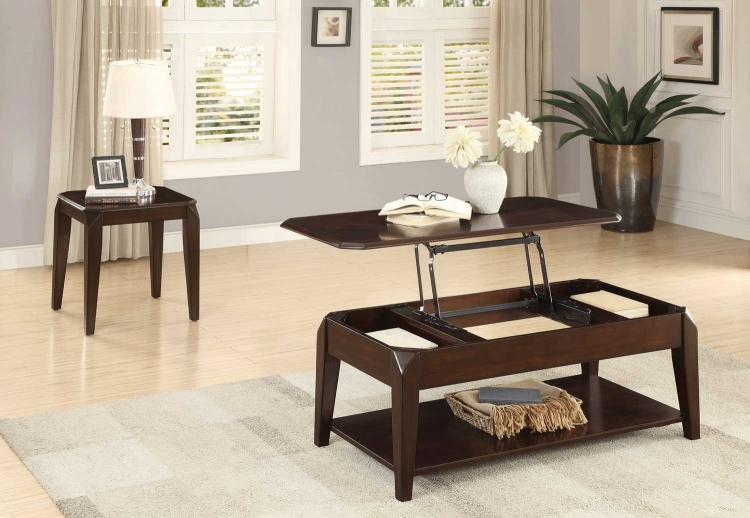 Sikeston Cocktail/Coffee Table Set - Warm Cherry