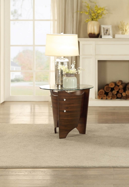 Laszlo Round End Table with Glass Top