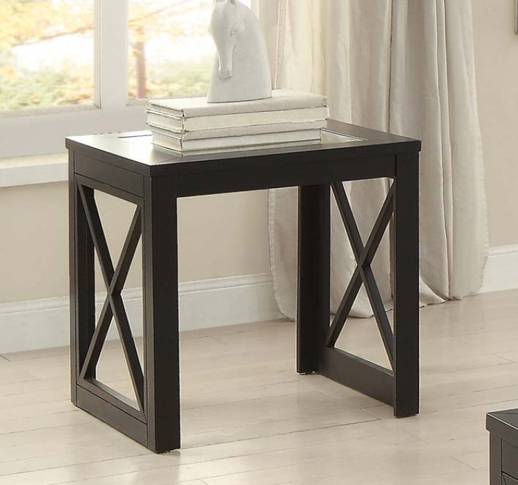 Berlin End Table with Glass Insert - Black Finished Frames