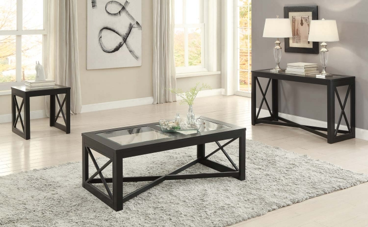 Berlin Cocktail/Coffee Table Set - Black Finished Frames