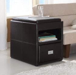 Carbon Side Table with Reversible Tray Top - Leatherette - Homelegance