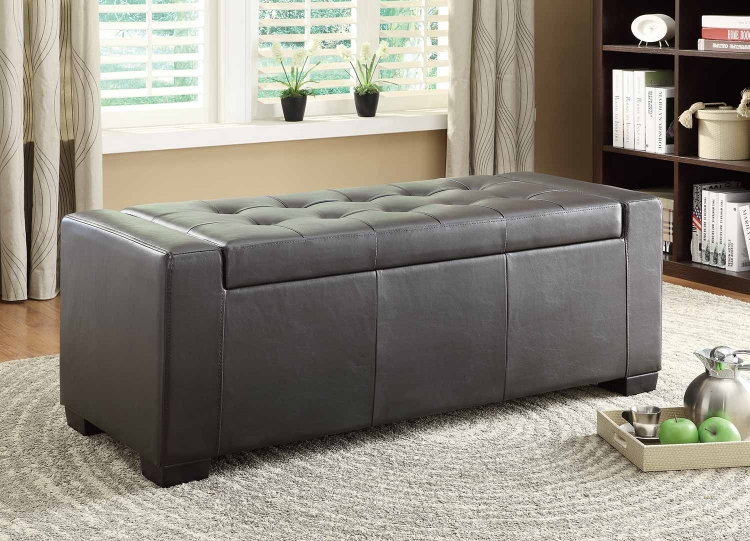 Tigard Lift-Top Storage Bench - Dark Brown Bi-Cast Vinyl