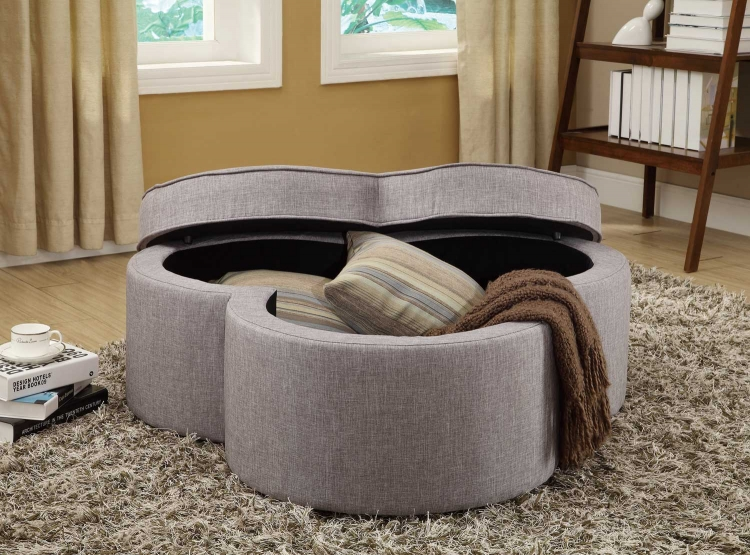 Limerick Storage Ottoman with Casters - Grey Linen