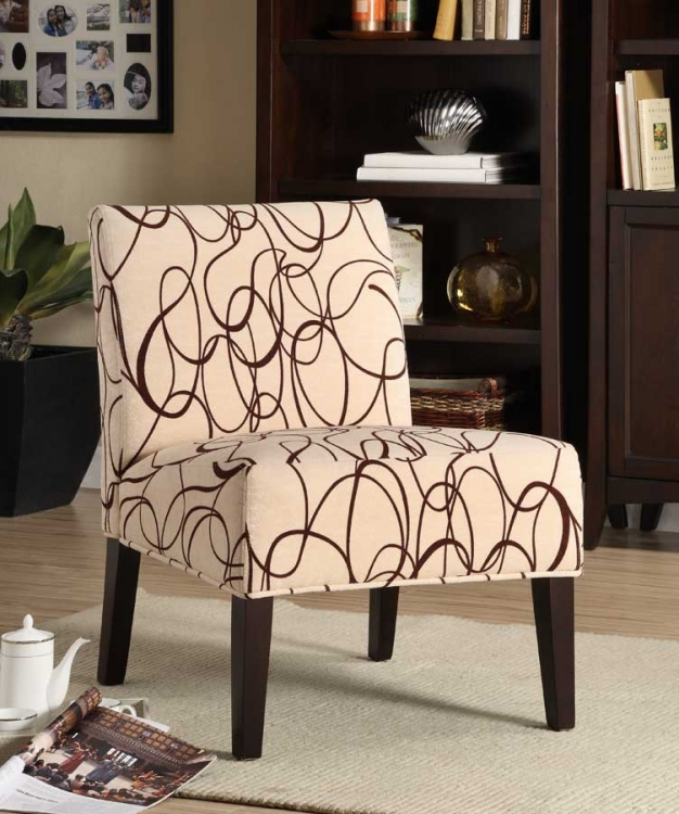 Lifestyle Armless Lounge Chair in Brown Scroll