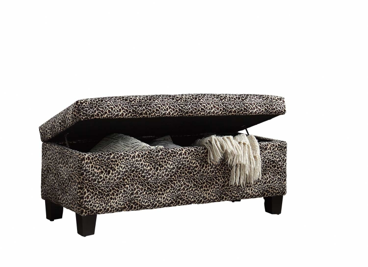 Claire Lift Top Storage Bench - Leopard Fabric