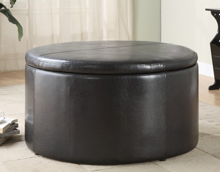 Houston Round Storage Cocktail Table with 2 Kidney Ottomans� - Homelegance