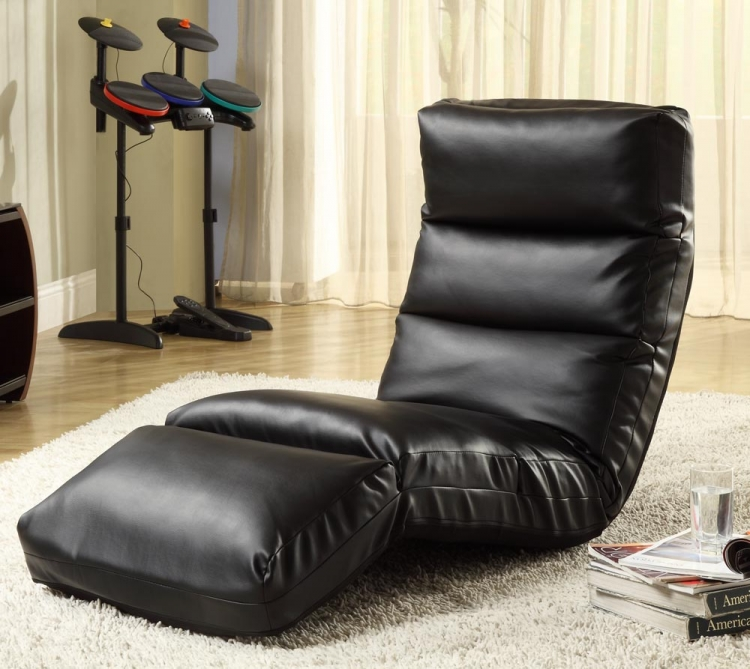 Gamer Floor Lounger Chair - Black Leatherette - Homelegance