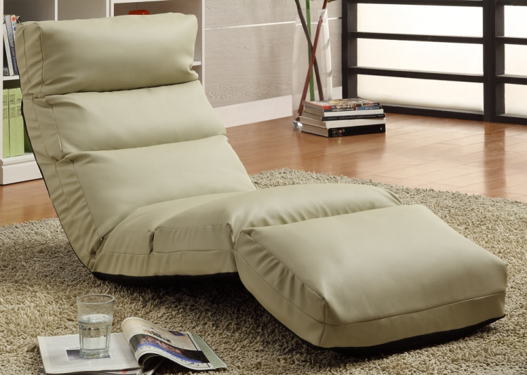 Gamer Floor Lounger Chair - Cream Leatherette - Homelegance