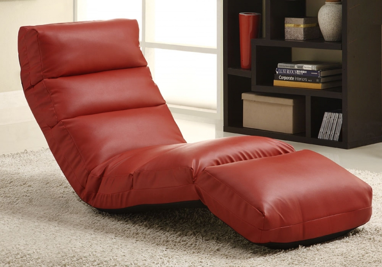 Gamer Floor Lounger Chair - Red Leatherette