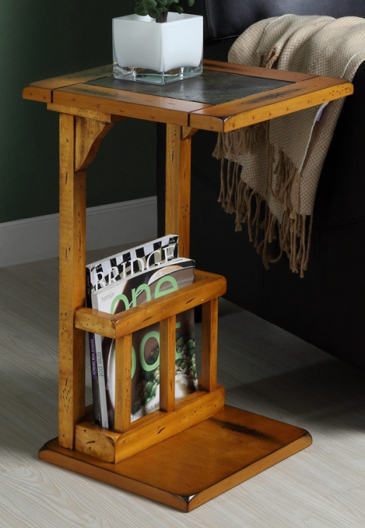 Berman Chairside Table - Slate - Oak - Homelegance