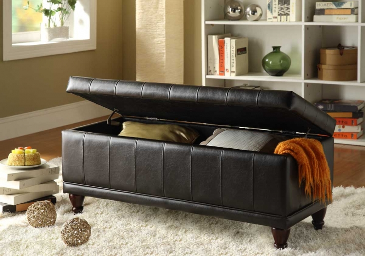 Afton Lift Top Storage Bench Ottoman - Brown Bi-Cast - Homelegance