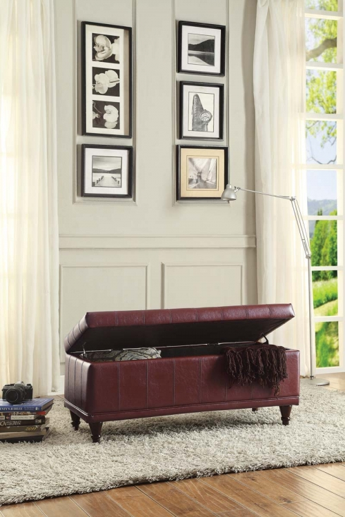 Afton Lift Top Storage Bench - Red Bi-Cast Vinyl