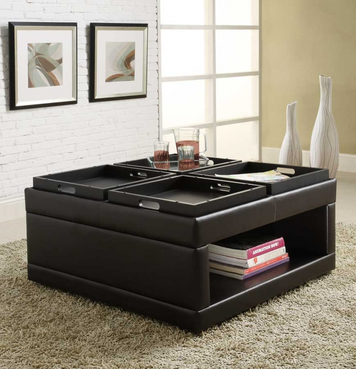 Fleming Cocktail Ottoman with 4 Trays - Homelegance