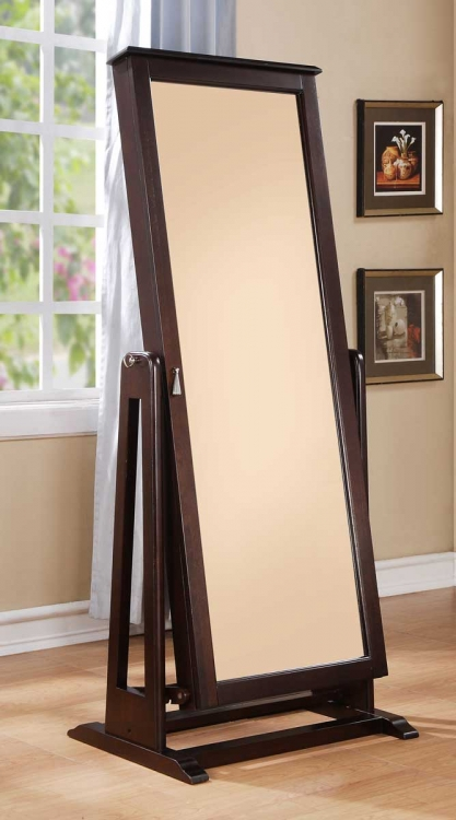 Reflection Cheval Mirror With Jewelry Wardrobe - Espresso
