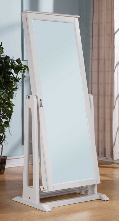 Reflection Cheval Mirror With Jewelry Wardrobe - White - Homelegance