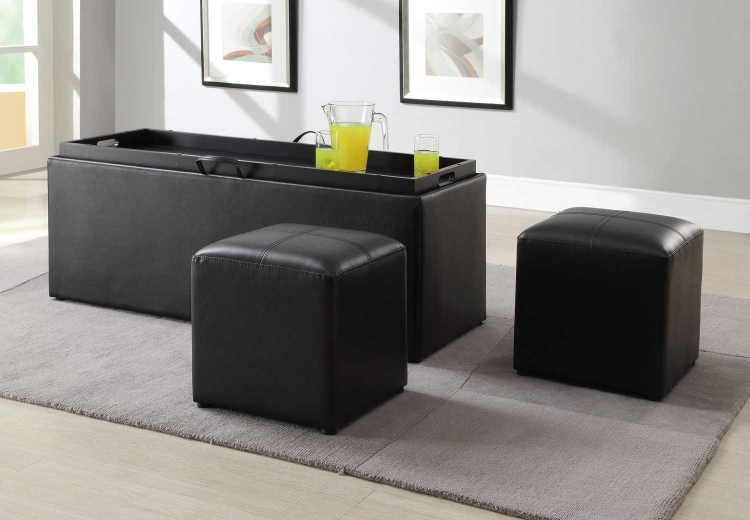 Blasey Storage Ottoman with 2 Cubes - Dark Brown Bi-Cast Vinyl - Homelegance