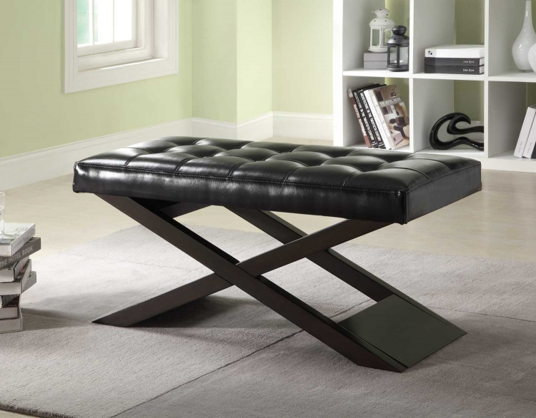 Natalia Bench with X-Base - Espresso - Black Bi-Cast Vinyl - Homelegance
