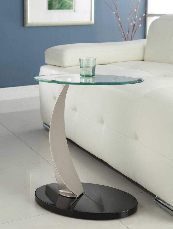 Galaxy Chairside Table - Brushed Chrome - Homelegance