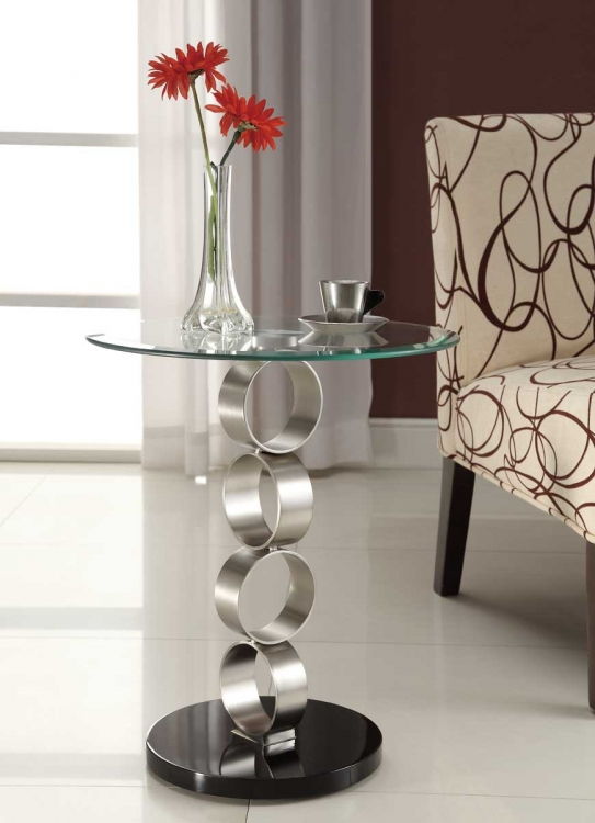 Galaxy Round Chairside Table - Brushed Chrome - Homelegance