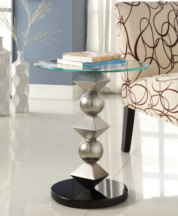 Galaxy Round Chairside Table - Brushed Chrome